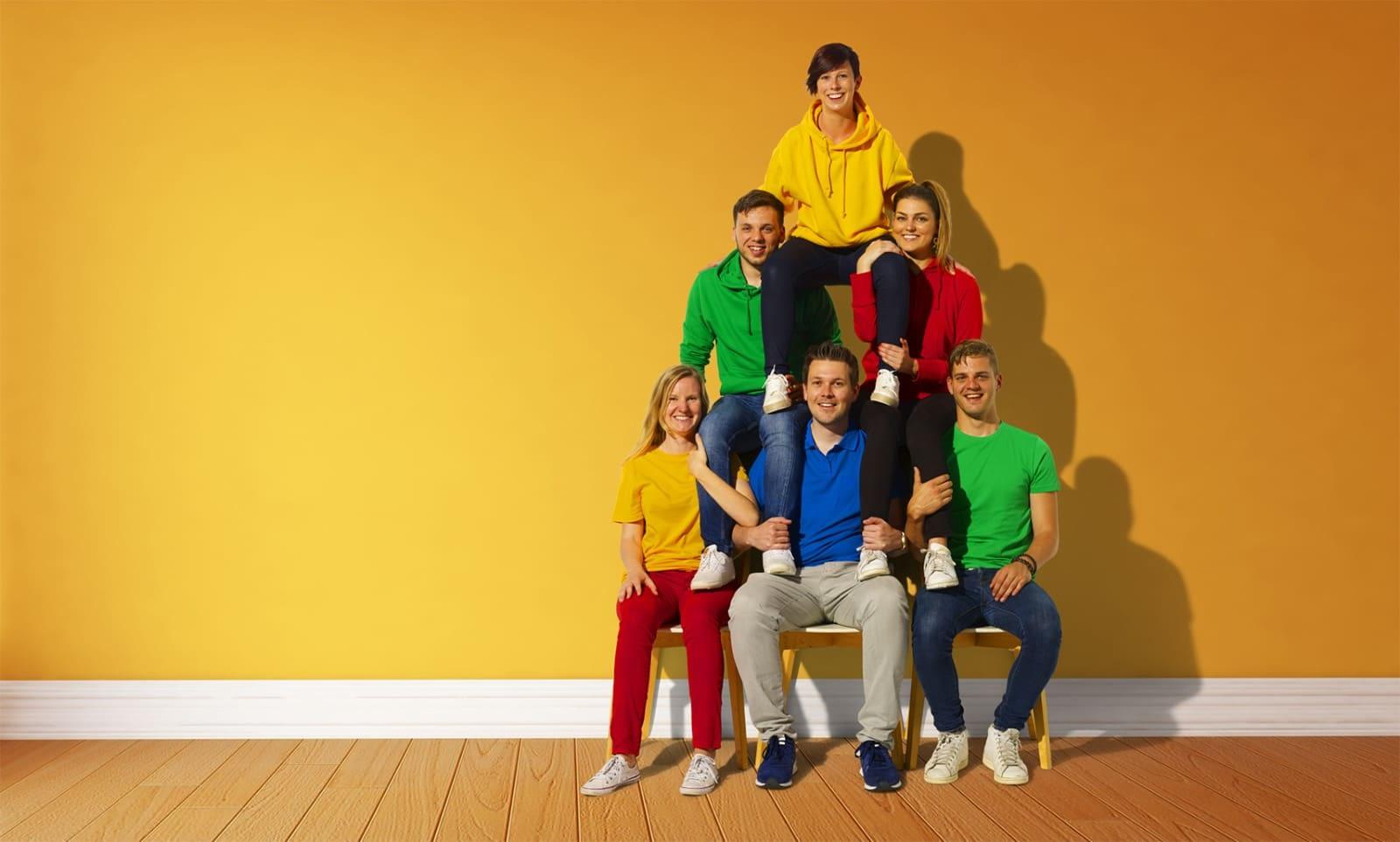 Ons team in piramide